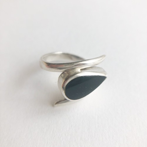 silver 925 black teardrop ring #8-9[r-104]
