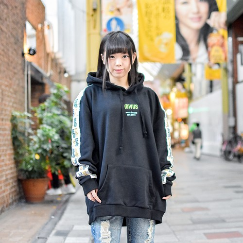 【Deviluse | デビルユース】 Line Pullover Hooded(Black)
