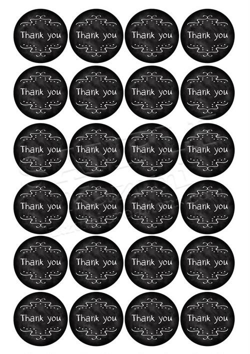 【プリントタイプ】Thank you ステッカー - サークル チョークボード 4.5cm, A4