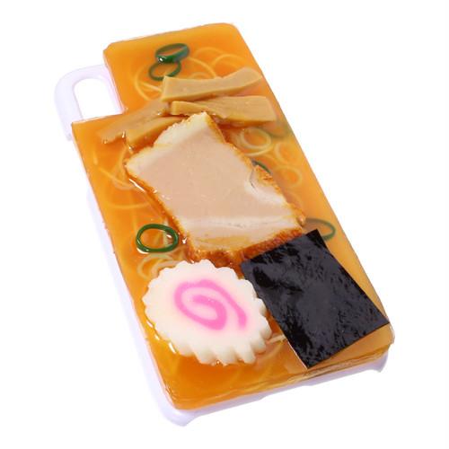[8109]食品サンプル屋さんのスマホケース(iPhoneX:ラーメン[ホワイト])【メール便不可】