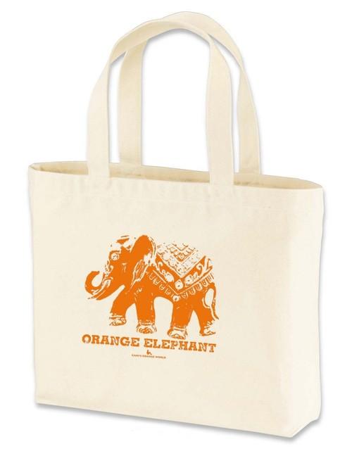 「オレンジの象」トートバッグ(中)ナチュラル