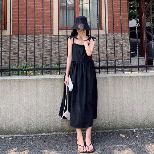 [数量限定]ribbon shoulder long dress
