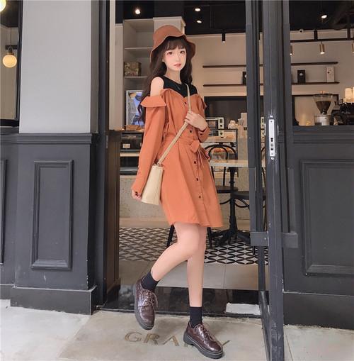 【ワンピース】ファッションハイウエスト配色コットン長袖ワンピース