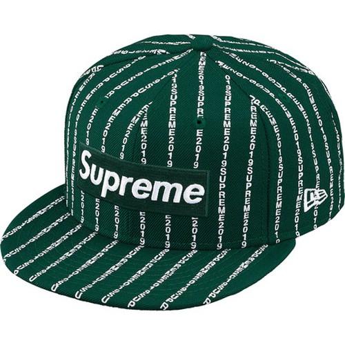 Supreme  x New Era Text Stripe Box Logo Cap Green