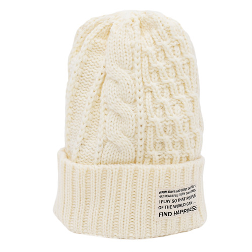 CABLE ARAN KNIT CAP - WHITE