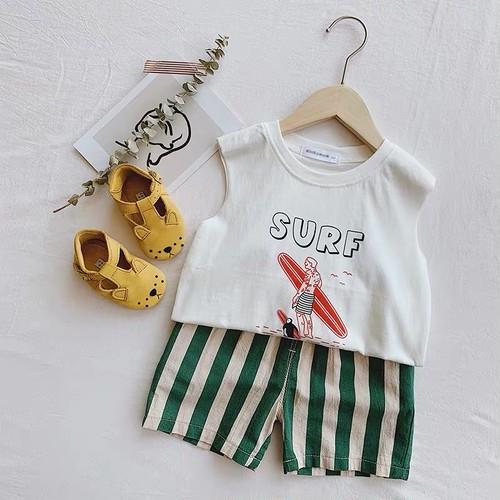 SURFノースリーブTEE ホワイト【T085】