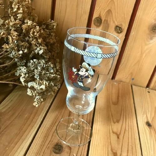 ≫希少レア*Disneyディズニー*SSコロンビア号限定*古いミッキーマウスの大きなスーベニアグラスH21cm*ガラスハリケーングラス*コレクタブル