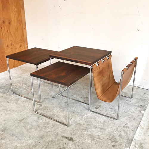 """Brabantia"" Rosewood Nest Table With Leather Magazine Holder 60's オランダ"