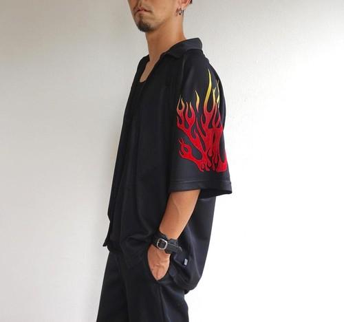 1990's [KUSTOM] ファイヤーパターン チカーノシャツ ブラック 表記(M)