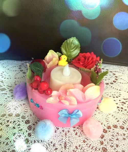 可愛いアヒルとお花のLEDライトキャンドルホルダー