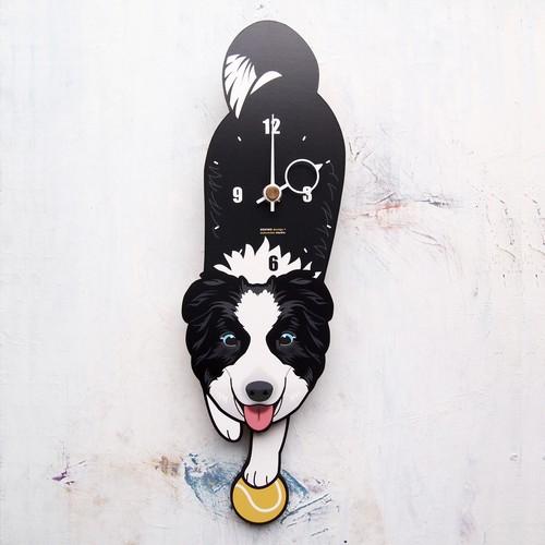 D-146 ボダコリ(青目)-犬の振り子時計