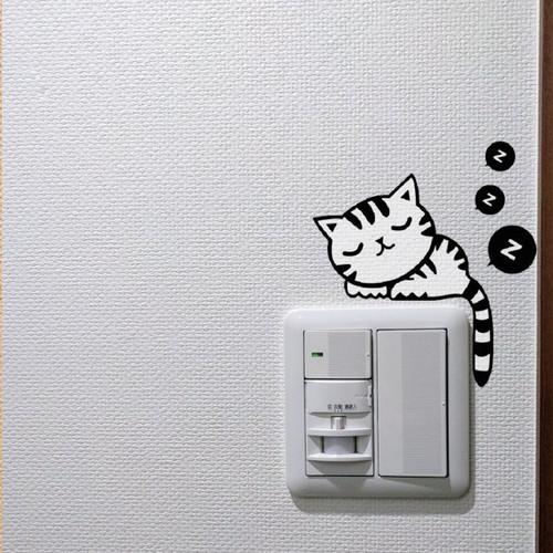 いねむり猫のウォールステッカー スイッチ飾り
