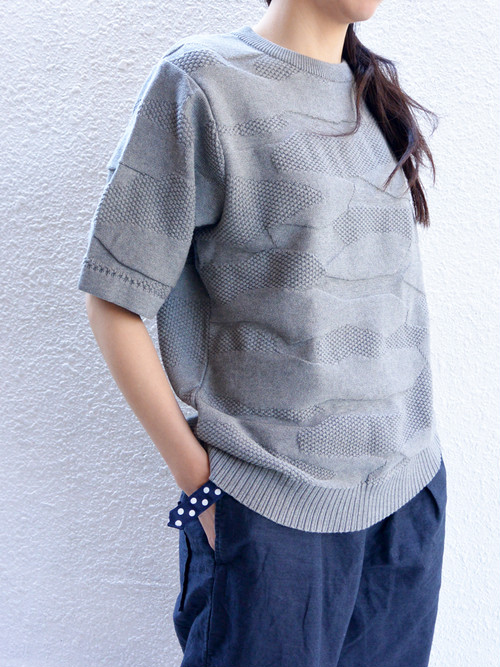 eight days a weac.SUMMER CAMO KNIT【GREY】