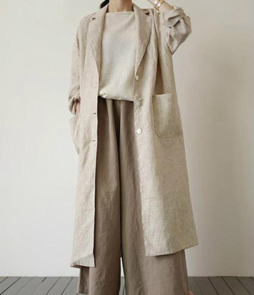 モード系 ロングコート 薄手 麻 コットン ナチュラル ゆったりめ オーバーサイズ 大人きれいめ 韓国 オルチャン 20代 30代