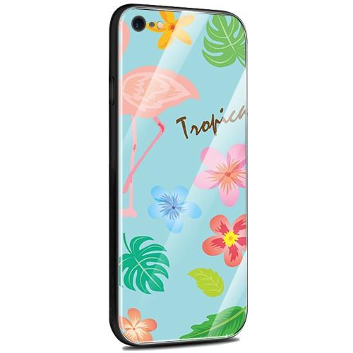 Jenny Desse iPhone X ケース カバー 背面強化ガラスケース  背面ガラスフィルム シリコンハイブリッドケース 対応 sim free 対応 トロピカル・ブルー(青)