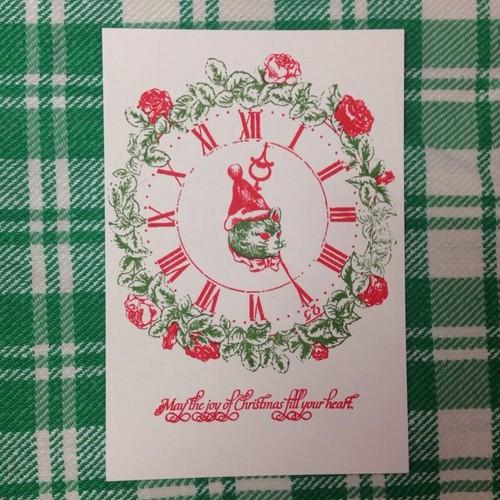 figpolkadot クリスマスポストカード ねこ時計