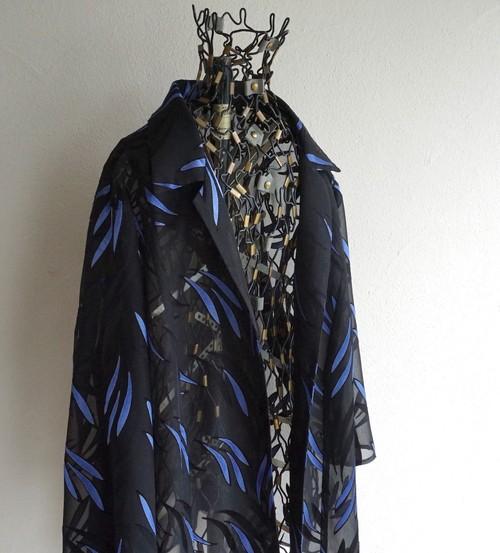 1980's〜90's [Reher] ボタニカルパターン シフォンジャケット ブラック×ブルー 表記(46) ヴィンテージ
