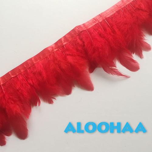フェザーロール【レッド】7-12cm丈 1m #31-002RE-CT DIY 羽 衣装材料 タヒチアン