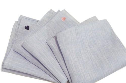 2173-IMP2  サックスリネン・ポケットチーフ/ハート刺繍・・