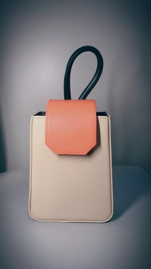 Real Leather 2way BAG/Beige x Orange ※OUTLET