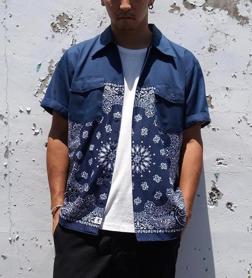 """PAISLEY WORK SHIRT S/S"" NVY×NVY/NVY size:M"