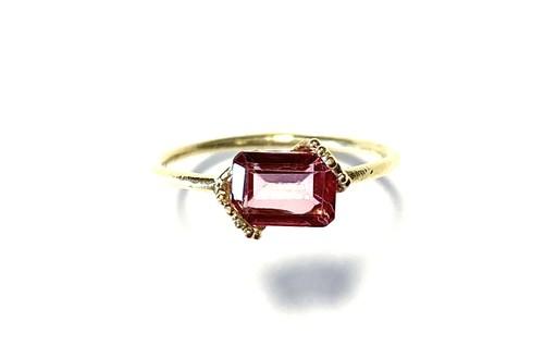 R10-0022-PT 【K10 lace rec pink topaz ring】