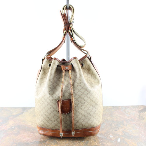 .OLD CELINE MACADAM PATTERNED DRAWSTRING SHOULDER BAG MADE IN ITALY/オールドセリーヌマカダム柄巾着ショルダーバッグ 2000000048130