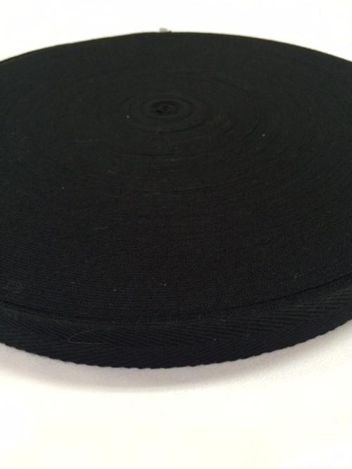 アクリルテープ 杉綾織(綾テープ) アパレル ヒモ などに 15mm幅 1mm厚 黒 1巻 (50m)