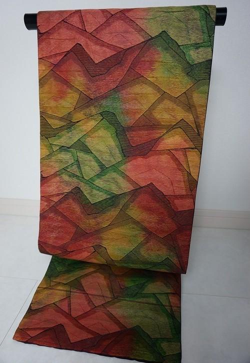 ふくれ織り 九寸名古屋帯 幾何学文様 緑 黄 赤 リユース 073