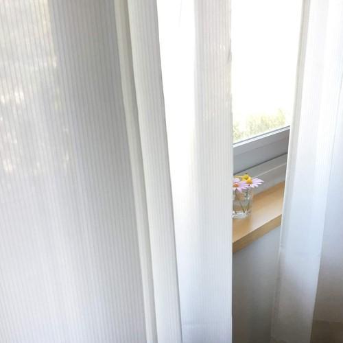 トリコ/アイボリー 遮像レースカーテン 遮熱・保温 UVカット 涼しや 形状記憶加工 ウォッシャブル カーテン 2枚入 / Aフック サイズ(幅×丈):100×148cm ksol-001-100-148
