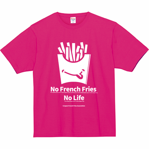 Tシャツ(No French Fries No Life - ピンク)