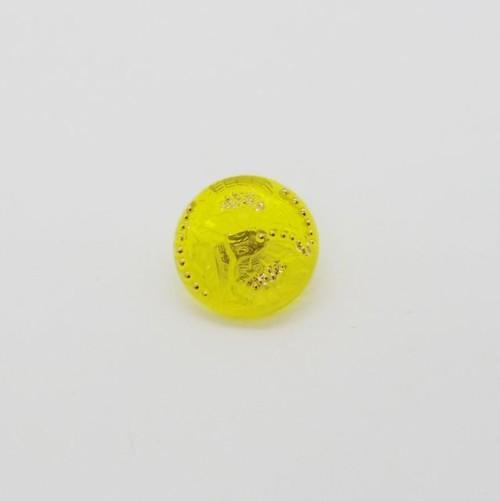 チェコガラスボタン1.8cm::: 2輪のひまわり クリアイエロー