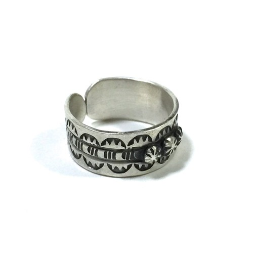 Navajo Vintage Sterling Silver Traditional Stamp Adjustable Ring by Virgil Begay