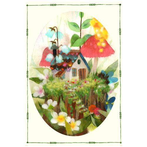 『切り株の上は素敵なお庭』 花やキノコで色鮮やかに飾られた切り株が 小人さんの素敵なお庭のイラスト  ポストカード
