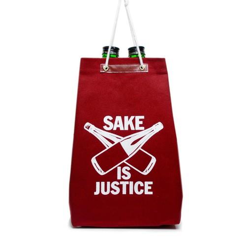 【通い袋】SAKE 袋 IS JUSTICE / 濃赤