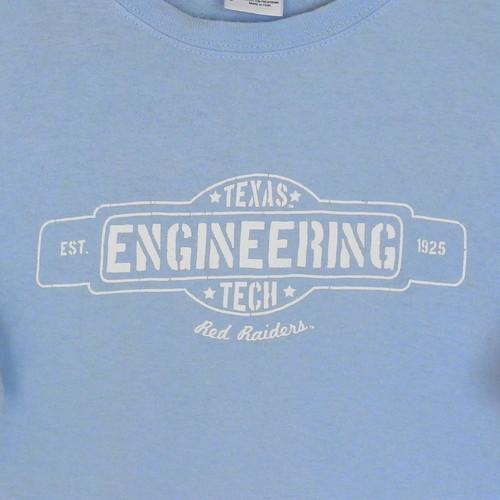 USA古着プリントTシャツL水色TEXAS ENGINEERING TECH綿100良好