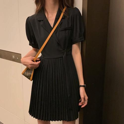 プリーツカジュアルミニドレス