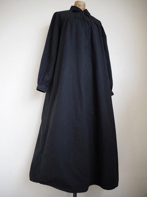 【フランス】 アンティークコットンギャザーシャツワンピース [染物/墨黒色]