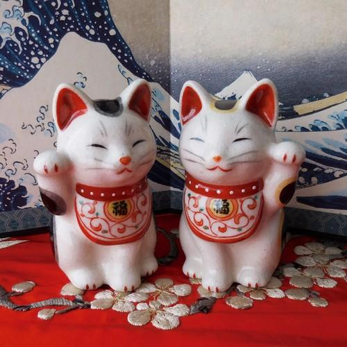 (98) 薬師窯 瀬戸焼 陶彩万福唐草 招き猫 (小) 日本製