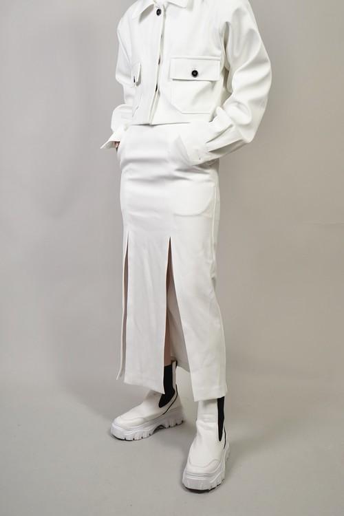 DOUBLE SLIT SKIRT (WHITE) 2103-34-95