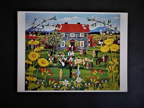 ヴィンテージポストカード 北欧スウェーデン 絵葉書 Stina Sunesson フォークアート 1974結婚式