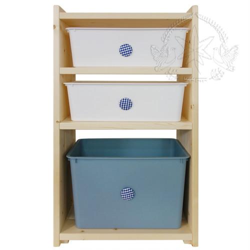 おもちゃ箱収納棚おしゃれなくるみボタンがついた箱付き(白小2個+青大1個)・木製・ハンドメイド・無塗装ナチュラル