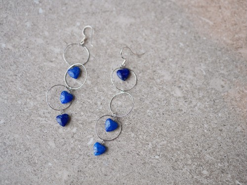 lapis lazuri heart earrings/silver