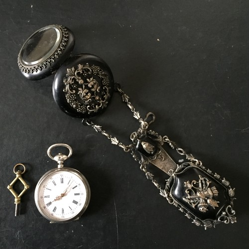 French Antique Watch Chatelaine with Silver Case Cylindre Pocket Watch