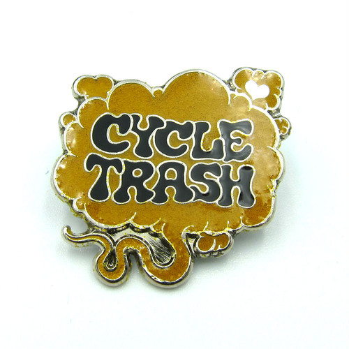 "Cycle Trash ""Fart"" logo pin badge, LTD:Yel-blk"