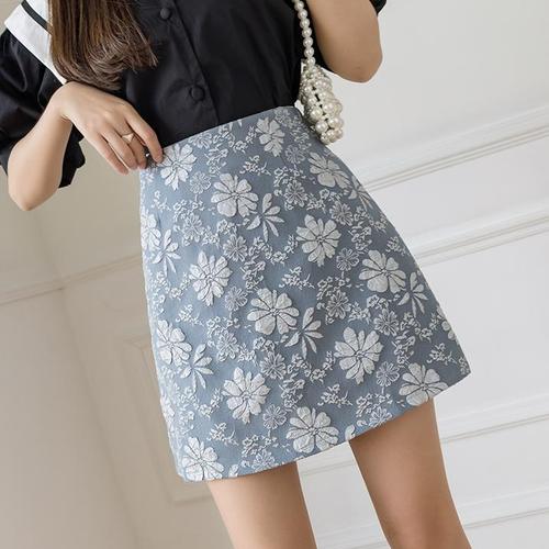 【bottoms】レディースファッションハイウエストプリントスカート3色 M-0187