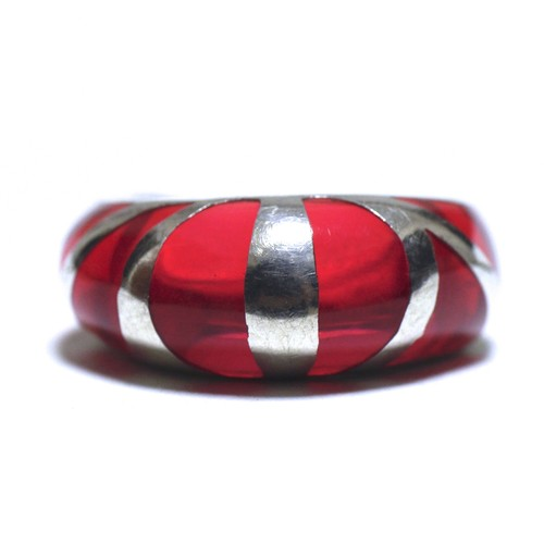 Vintage Sterling Silver Mexican Red Glass Ring