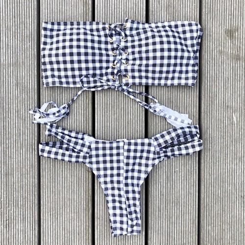 Bikini♡ギンガムチェックレースアップバンドゥビキニ GSB18S012MLC