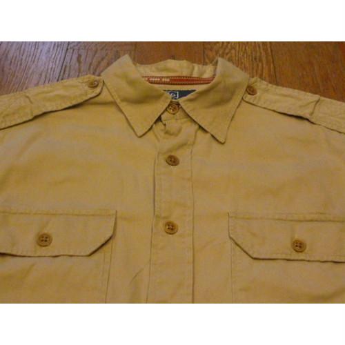 【送料無料】Polo by Ralph Laurenの古着ミリタリー風半袖シャツ (M) 刺繍入り