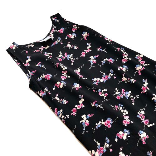Black Floral Print Rayon Sleeveless Dress / ブラック花柄ノースリーブワンピース